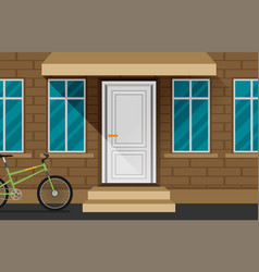 Front door house exterior flat vector