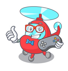 Gamer helicopter mascot cartoon style vector