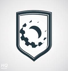 Gear Symbol in Shield vector image