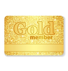 Gold member VIP card composed from glitters vector