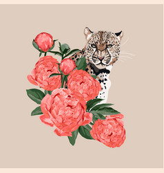 graceful leopard and coral peony flowers vector image
