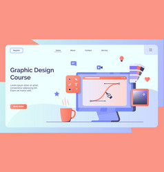 Graphic design course campaign for web website vector
