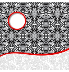 Grey unusual floral ornamental template with place vector