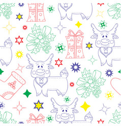 hand drawn elements for new year celebratio vector image