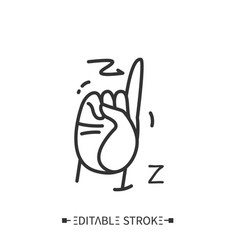 Hand gesture showing z letter line icon editable vector