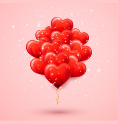 happy valentines day background red helium vector image