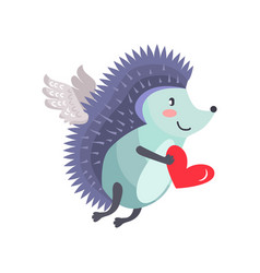 Hedgehog flies on wings of love with heart in hand vector