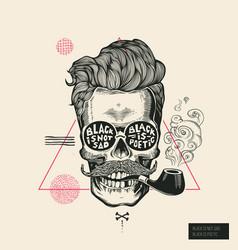 hipster hair skull smoke pipe poster print vector image