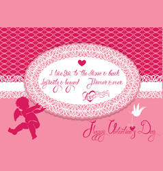 Horizontal holiday card with cute angel and oval vector