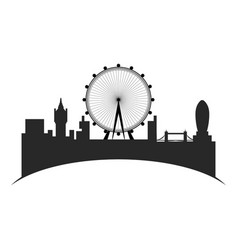 Isolated cityscape of london with the london eye vector