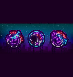 jazz music collection of logos in neon style set vector image