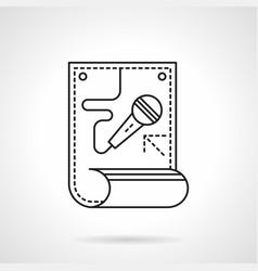 Karaoke poster flat line icon vector