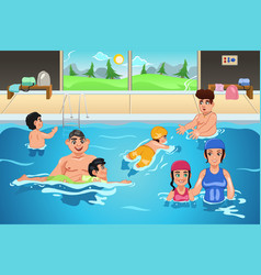 kids having a swimming lesson vector image