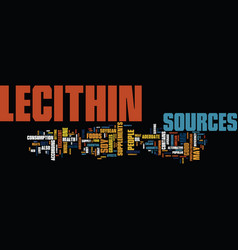 Lecithin sources text background word cloud vector