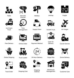 Logistics and delivery solid icons pack vector