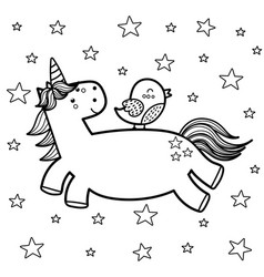 magic unicorn with his friend bird coloring page vector image