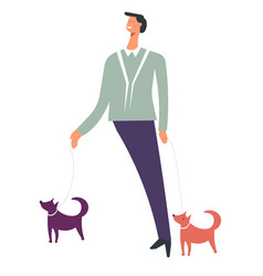 man or boy walking with dogs pets vector image