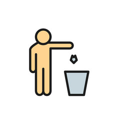 Man throws out waste trash flat color line icon vector
