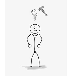 man with a broken bulb idea symbol vector image