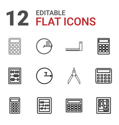 mathematics icons vector image