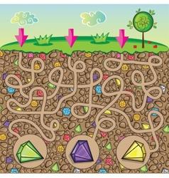 Maze for children - nature stones and precious vector