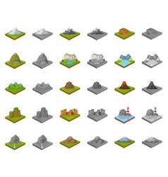 Mountains massive cartoonmonochrom icons in set vector
