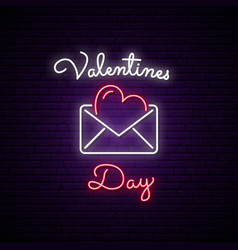 neon sign postcard valentines day vector image