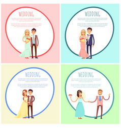 newlyweds in wedding gowns and festive suits set vector image