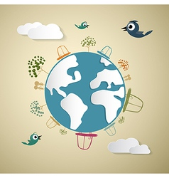 Paper Cars Clouds Trees Birds on Earth Globe vector image