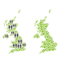 People and floral united kingdom map vector