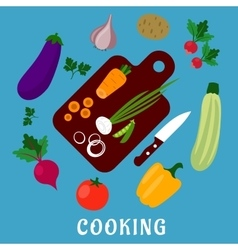 Process of cooking a vegetable salad flat style vector image