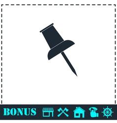 Push pin icon flat vector