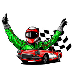 racing car with checker vector image