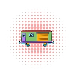 Railroad carriage icon comics style vector image