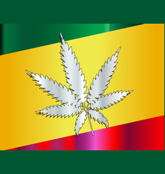 rastafarian flag and leaf vector image
