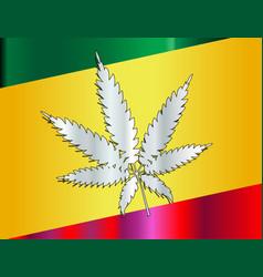 Rastafarian flag and leaf vector