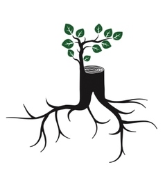Rejuvenate tree trunk and sprout vector