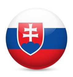 Round glossy icon of slovakia vector