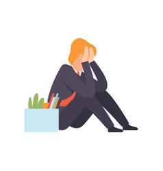Sad business man dismissed from work man sitting vector