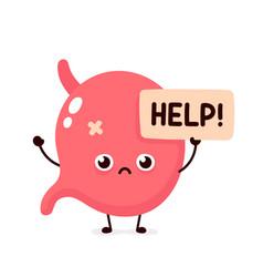 Sad suffering sick cute human stomach vector