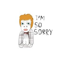 Sad woman drawing vector