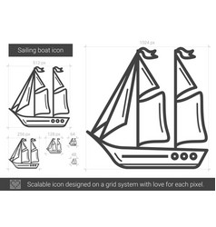 Sailing boat line icon vector
