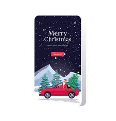 santa claus driving car with fir tree merry vector image