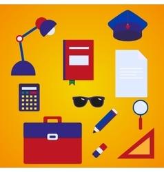 School accessories flat style set vector image vector image