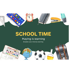 School frame design with globe ball bag vector