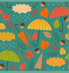 Seamless autumn pattern with umbrella vector