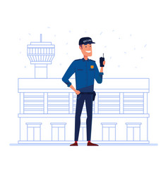 Security company employee with portable radio in vector
