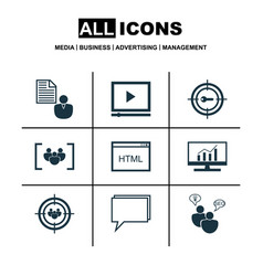 set of 9 marketing icons includes report vector image