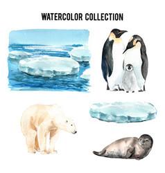Set watercolor global warming hand-drawn of vector