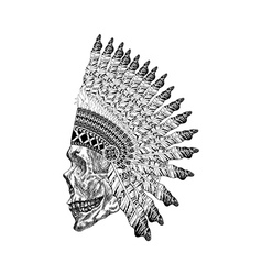 Shading scull with feathered war bannet in vector